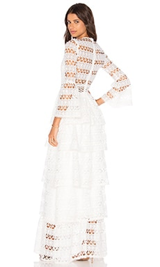 Liliane Long Dress in White Embroidery