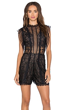 Lowe Romper in Black Flower Embroidery