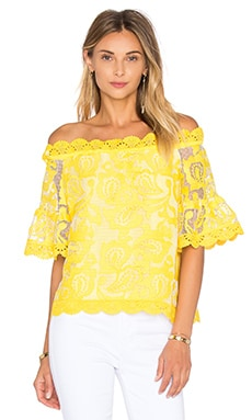 Karol Top in Yellow Embroidery