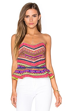 Hanz Peplum Top in Aztec Neon