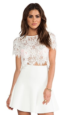EXCLUSIVE Lisette Capped Sleeve Lace Crop Top in White