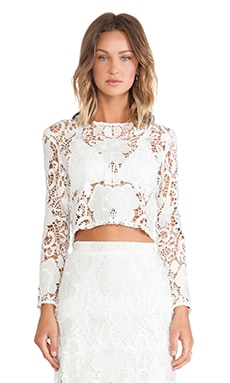 Laiden Lace Crop Top in White Embroidered Lace