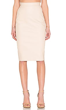 Casia Leather Pencil Skirt in Pale Pink