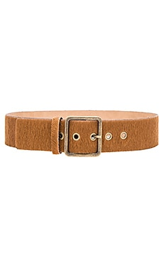 Asia Cow Hair Belt in Camel
