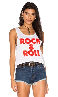 Rock & Roll Rad Long Tank in White & Red