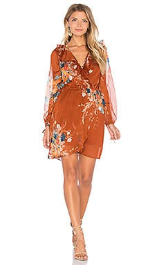 Bouqet Floral Surplice Wrap Dress in Rust & Teal
