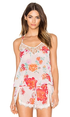 Gypsy Nights Lace Tank in Ivory & Fuchsia