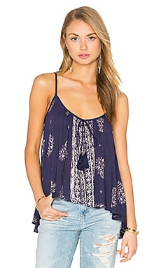 Scoop Neck Tank in Navy & Ivory
