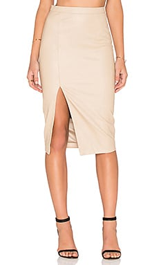 Khloe PU Skirt in Caramel