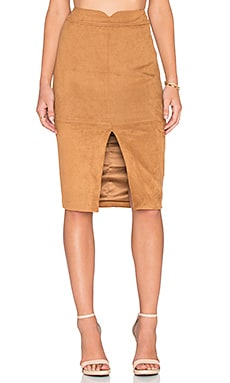 Sueded Midi Skirt in Cinnamon