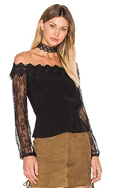 Charlston Off Shoulder Top in Black