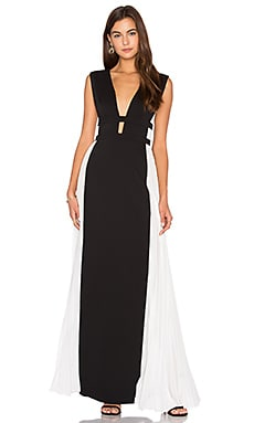 Colorblock Gown in Black Off White Combo