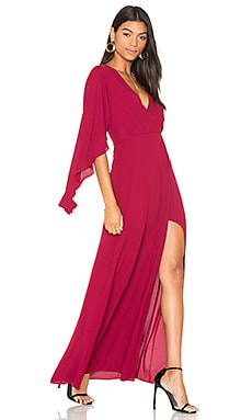 Open Sleeve Gown in Deep Cranberry