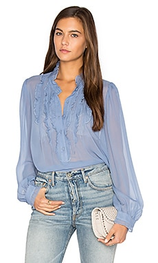 Ruffle Front Blouse in Chambray