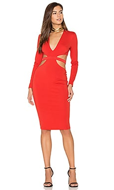 Trixie Long Sleeve Plunge Dress in Paprika
