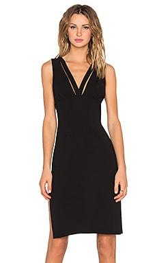 Deep V Midi Dress in Black