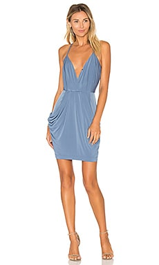 Faux Wrap Dress in Steel Blue