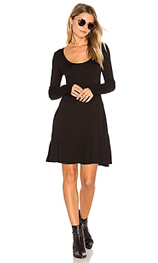 Casual Fit & Flare Dress in Black