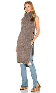 Long Open Side Turtleneck Sweater in Brown