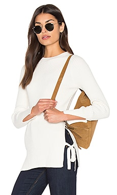 Ribbed Side Tie Sweater in Ivory