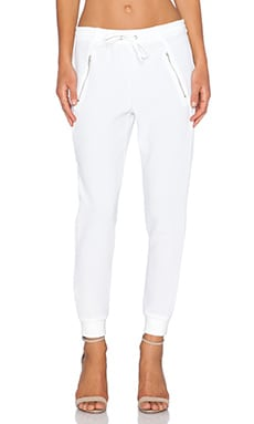 Double Zip Pant in White