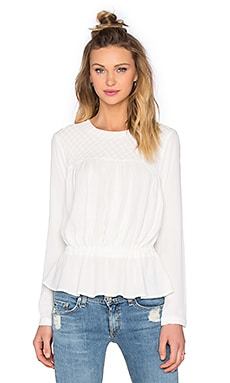 Pintuck Drop Waist Blouse in Ivory