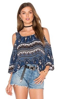 Cold Shoulder Peasant Top in Blue Paisley