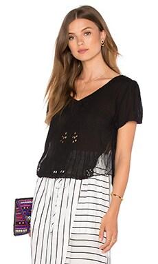 Mesh Insert Short Sleeve Blouse in Black