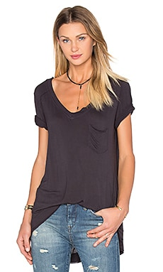 V Neck Pocket Tee in Storm Cloud