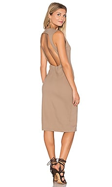 Backless Pencil Dress in Dark Taupe
