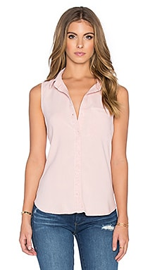 Sleeveless Seams Back Button Up in Pink Sand