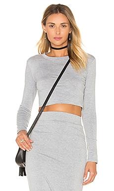 Long Sleeve Crop Top in Heather Grey