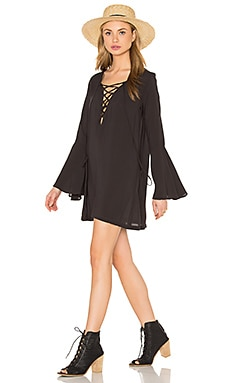 Lace Up Tunic Dress in Soft Black