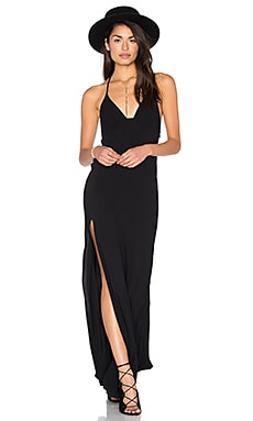 One Slit Halter Maxi in Black