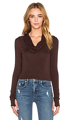 Cowl Neck Crop Top in Bark