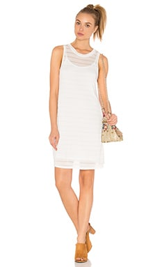 Shadow Stripe Tank Dress in White