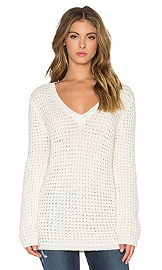 Waffle Oversized V-Neck Sweater in Cream