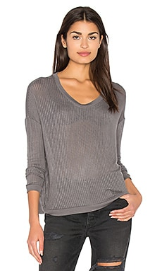 Sheer Rib Pullover Top in Storm Grey