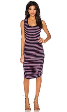 Double Stripe Jersey Scoop Neck Tank Dress in Passport & Sweetie Pink