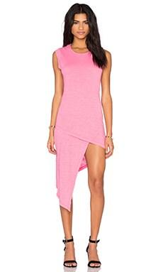 Cotton Slub Sleeveless Asymmetrical Mini Dress in Sweetie Pink