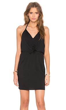 Supreme Jersey Tied Waist V Neck Dress in Black