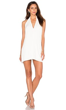 BLACK Liquid Jersey V Neck Mini Dress in White