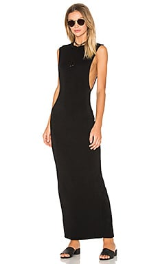 Jersey Sleeveless Back Slit Maxi Dress in Black