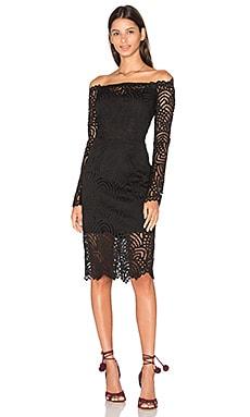 BLACK Lace Crochet Overlay Long Sleeve Off The Shoulder Dress in Black
