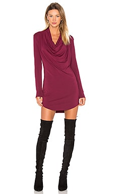 Jersey Long Sleeve Cowl Neck Bodycon Dress in Boysenberry