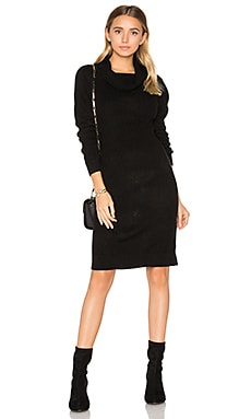 Cashmere Cowl Neck Sweater Dress in Black