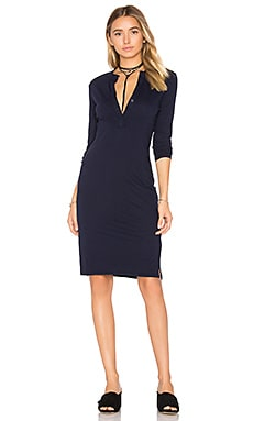 Long Sleeve Button Front Dress in Harbor