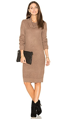 Cashmere Cowl Neck Sweater Dress in Java