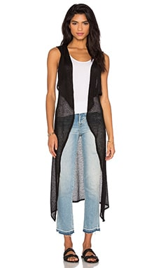 Mesh Sweater Sleeveless Long Cardigan in Black