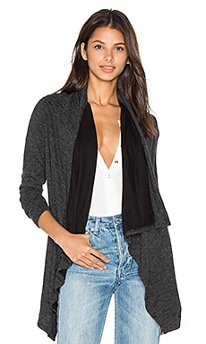 Fine Woolen Jersey Long Sleeve Wrap Cardigan in Black